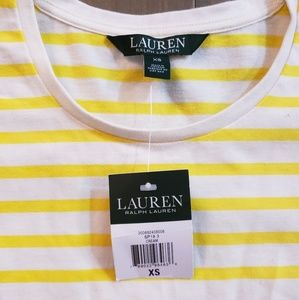 NWT Ralph Lauren top, white/yellow stripes, sz xs